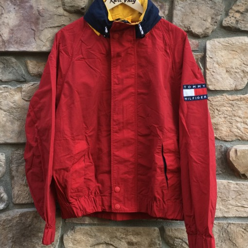 vintage 90's Tommy Hilfiger color block jacket size large red