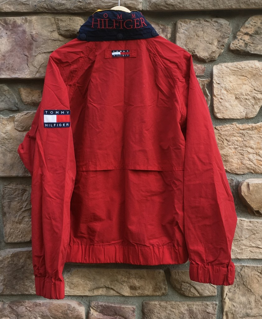 90 S Tommy Hilfiger Flag Patch Jacket Red Yellow Size Large Rare Vntg