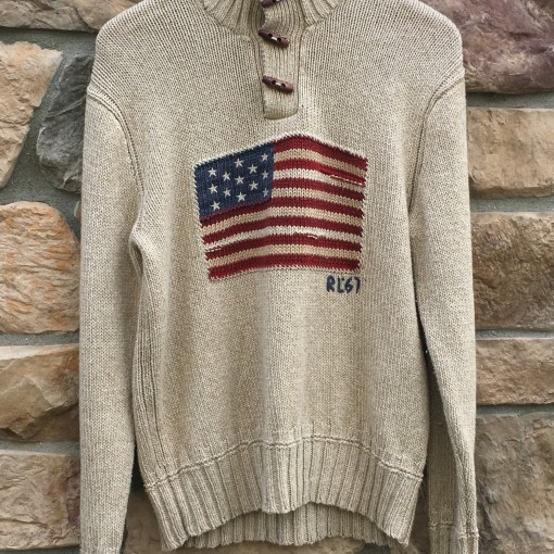 vintage 90's Polo Ralph Lauren USA American Flag knit sweater size small