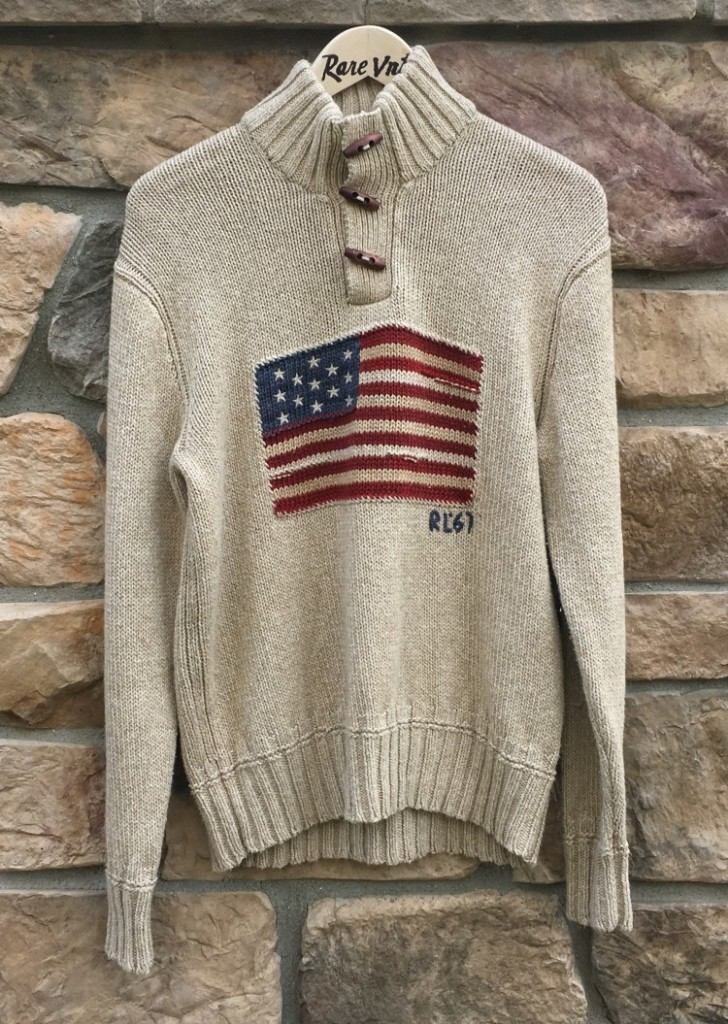 8a1c29b143b8f vintage 90 s Polo Ralph Lauren USA American Flag knit sweater size small