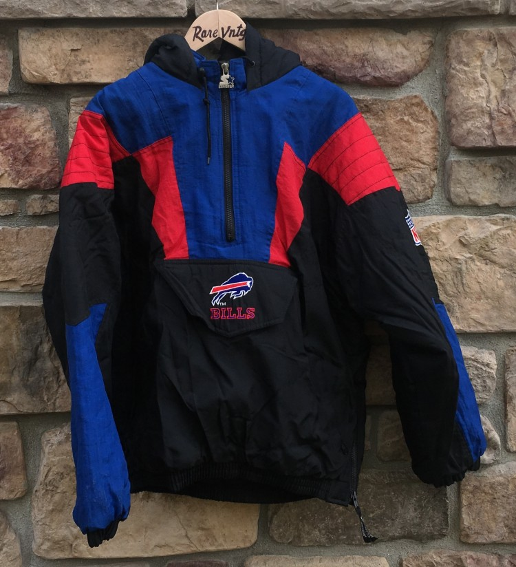 meet adb9d 0a93e 90's Buffalo Bills Black Starter Pullover NFL Jacket Size XL