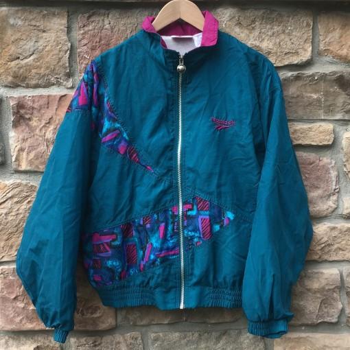 vintage 90's Reebok floral print windbreaker jacket pink aqua purple