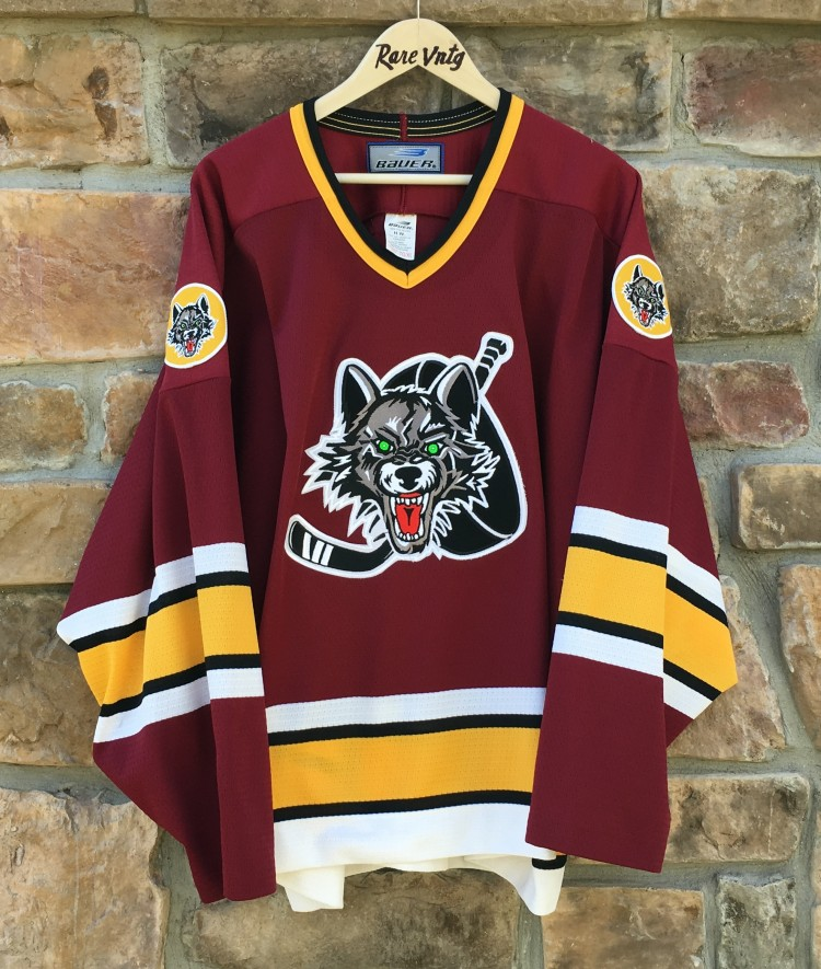 vintage 90 s Chicago Wolves IHL hockey jersey bauer minor league 95b17888b67