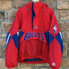 vintage 90's Washington Bullets Starter NBA pullover heavyweight pouch pocket jacket size xl