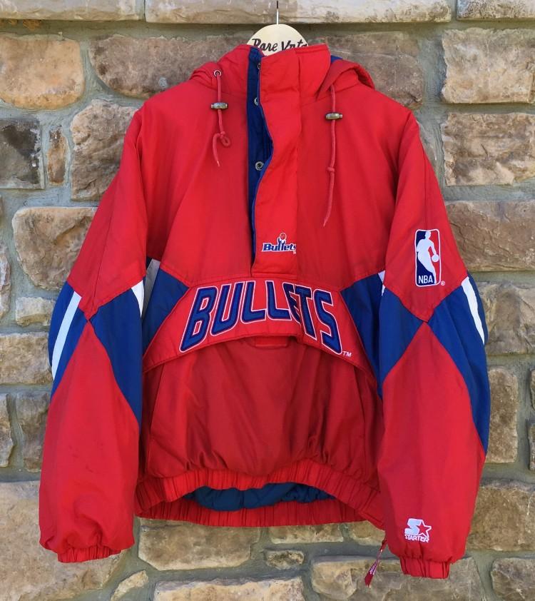 0bd1e523b vintage 90 s Washington Bullets Starter NBA pullover heavyweight pouch  pocket jacket size xl