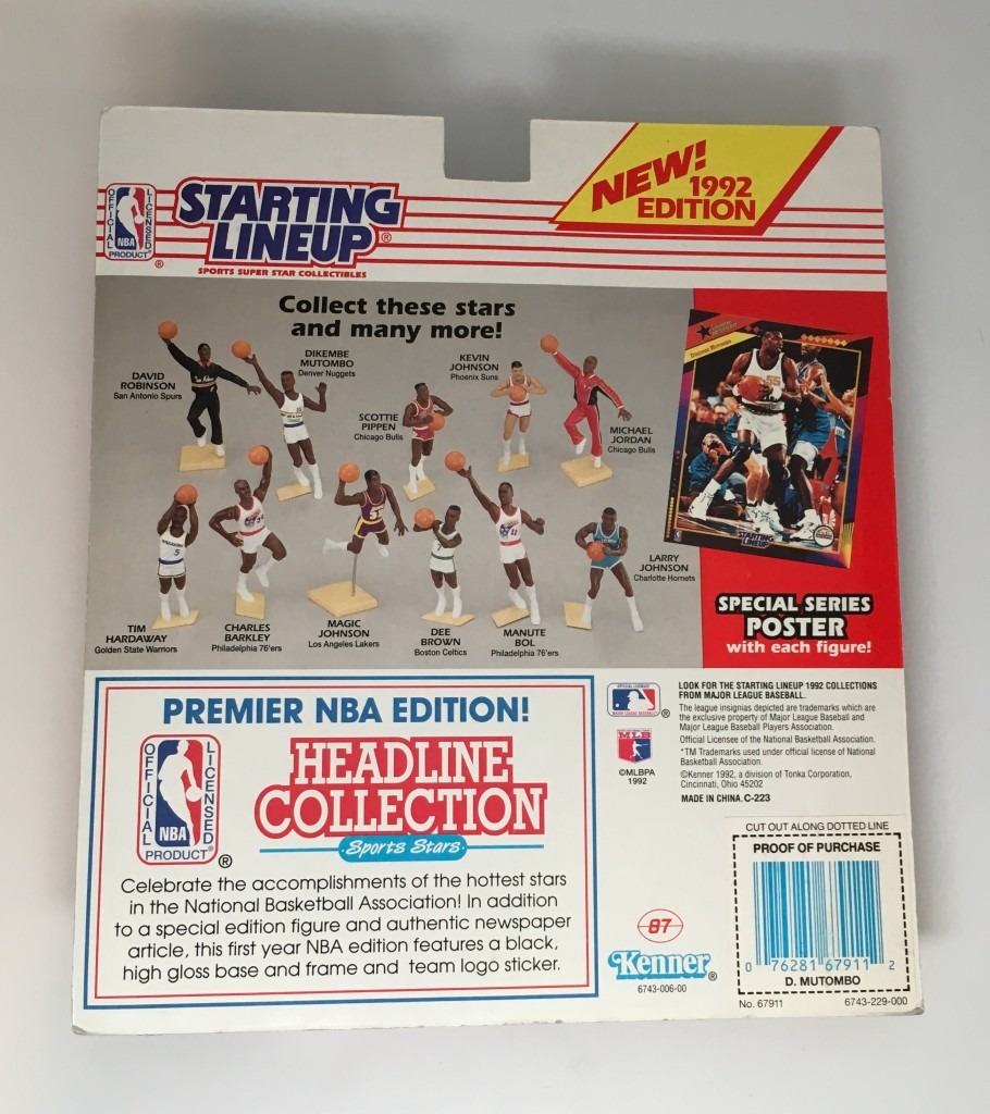 b679d6ab61b 1992 Dikembe Mutombo Denver Nuggets NBA Starting Lineup Toy Figure ...