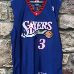 2001 Philadelphia Sixers Allen Iverson authentic Champion NBA jersey blue alternate size 44 large