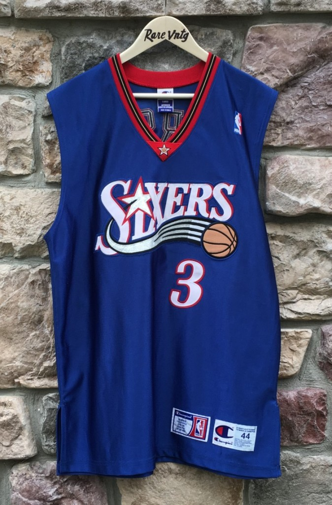 new arrival f8f57 4c9d1 2001 Allen Iverson Philadelphia 76ers Champion Authentic NBA Jersey Size 44