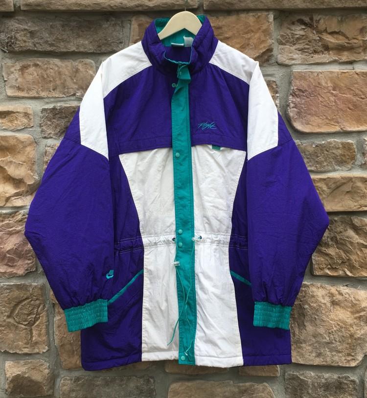 484d698b23f1 1990 Air Jordan 5 Nike Flight Jacket size XL. vintage 90 s Aqua purple ...