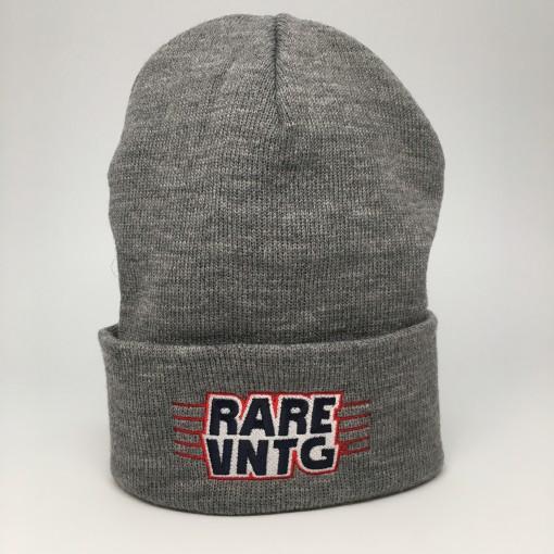 rare vntg cuffed beanie hat grey