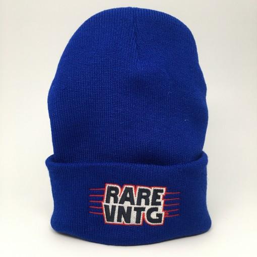 rare vntg cuffed beanie hat blue