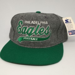 vintage 90's Starter grey wool script philadelphia eagles snapback hat