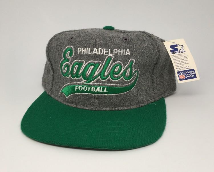 acf7d8e9a597a vintage 90 s Starter grey wool script philadelphia eagles snapback hat