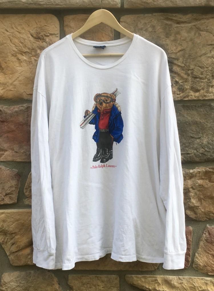 90�s polo ralph lauren ski bear long sleeve t shirt size