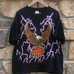 vintage 90's american thunder ride to live live to ride kanye west biker lightning t shirt