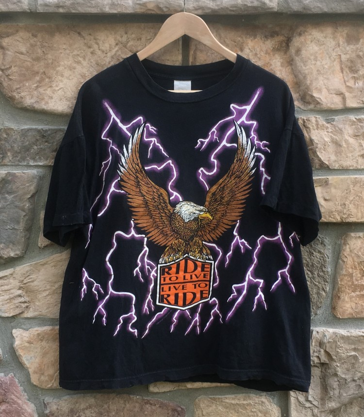 90�s ride to live live to ride american thunder t shirt