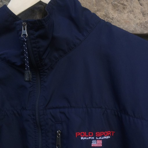 vintage navy blue polo sport classic logo windbreaker jacket
