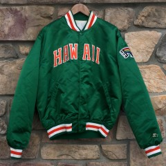 vintage 80's starter satin university of hawaii rainbows satin jacket size xl