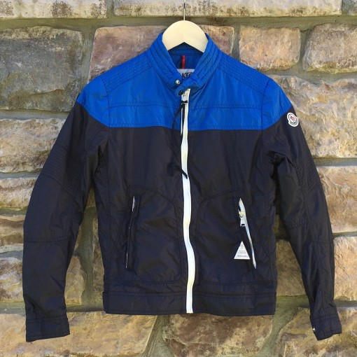 nylon color block Moncler windbreaker jacket youth medium  blue