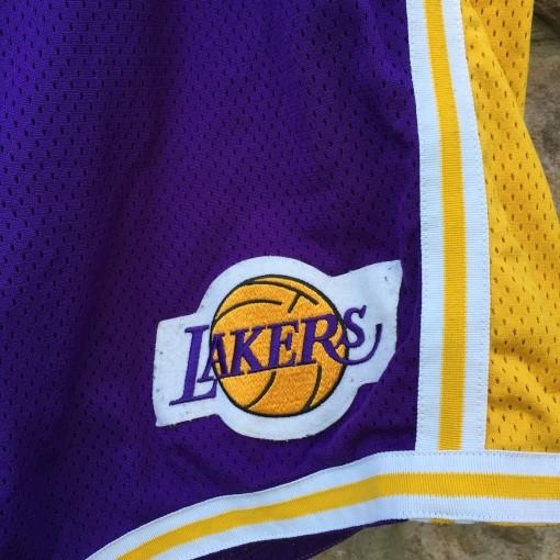 90's Game worn Los Angeles lakers champion authentic NBA shorts