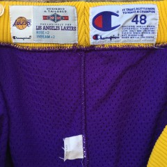 vintage game worn 94-95 Los Angeles Lakers pro cut nba shorts