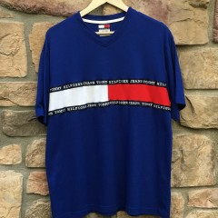 vintage 90's tommy hilfiger jeans cut and sew t shirt size large