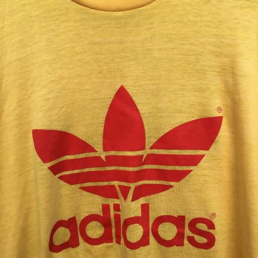 vintage 80's Adidas classic logo t shirt yellow orange