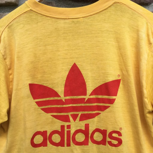 vintage yellow orange 80's Adidas t shirt