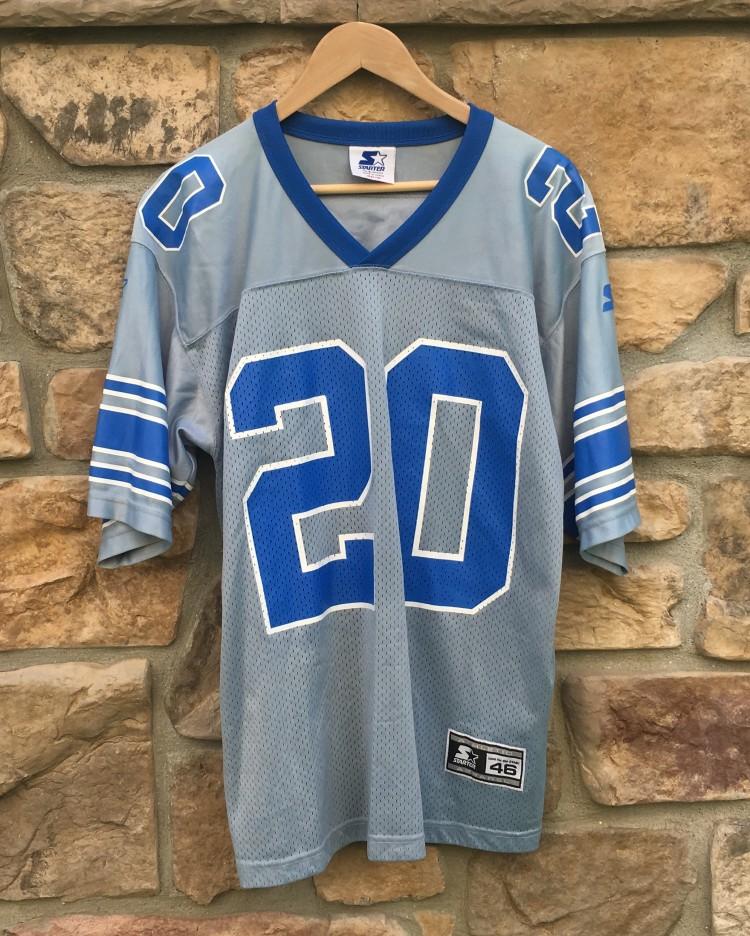 e64da5c95 vintage barry sanders detroit lions silver starter alternate NFL jersey 90 s