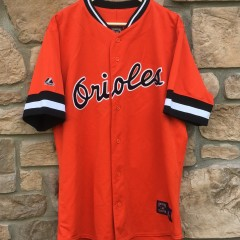 vintage orange Baltimore Orioles Majestic Cooperstown collection MLB jersey size large