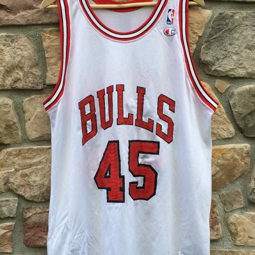 vintage champion chicago bulls michael jordan #45 jersey eric emanuel snakeskin custom jersey