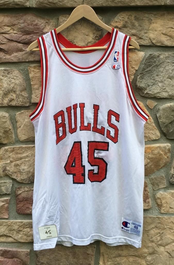 cheaper 60745 a857c 1995 Michael Jordan #45 Chicago Bulls Eric Emanuel Python Skin Champion NBA  Jersey Size 48