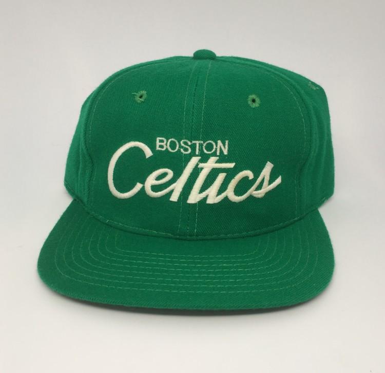 1ac14b3588a 80 s Boston Celtics Sports Specialties Script NBA Snapback Hat ...