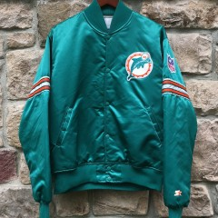 vintage 90's miami dolphins starter satin bomber jacket size large