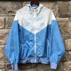 vintage 70's Nike Sportswear white carolina blue windbreaker jacket