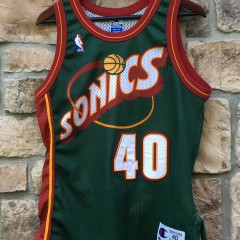 authentic shawn kemp seattle supersonics green champion nba jersey size 40 medium