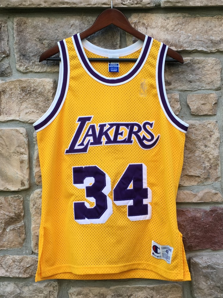 finest selection 005c2 e5149 1997 Shaquille O'Neal Los Angeles Lakers Authentic Champion NBA Jersey Size  40