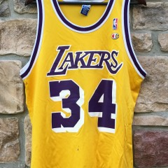 size 44 champion los angeles lakers shaq replica jersey 90's