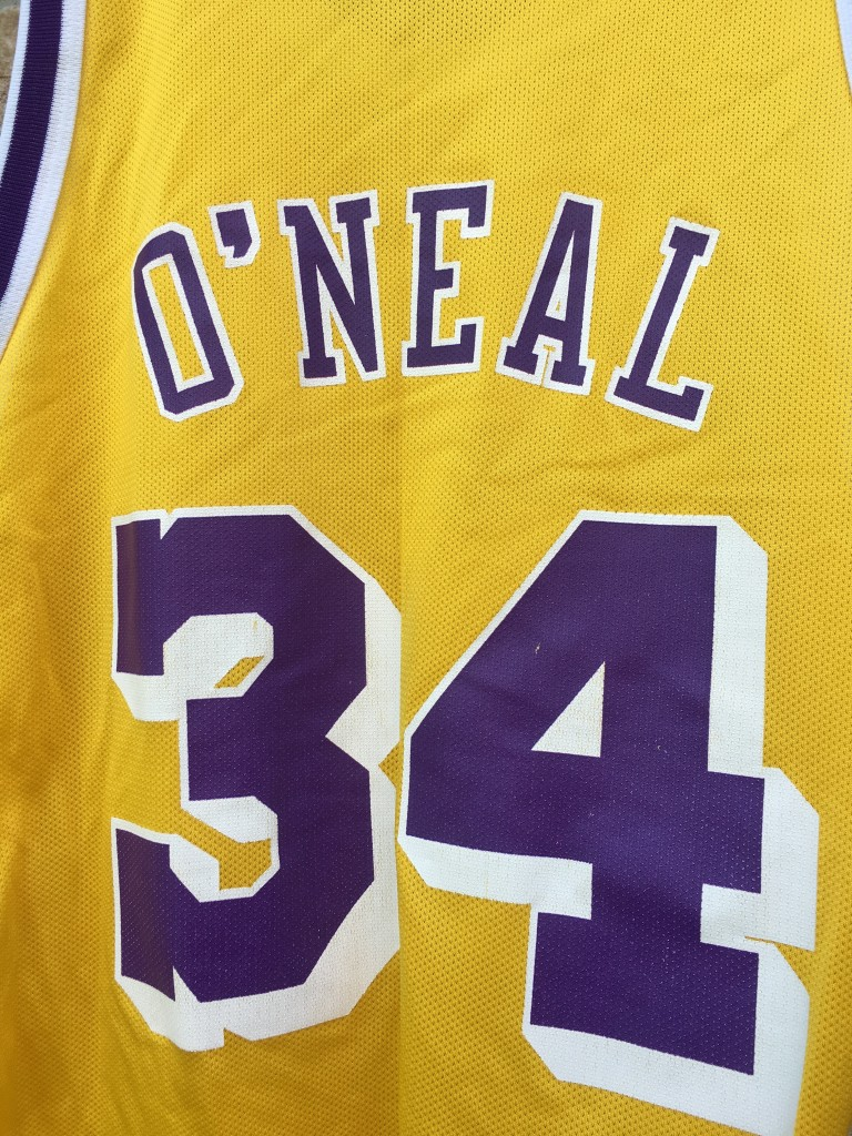 size 44 champion los angeles lakers shaq replica jersey 90 s. Lakers shaq  jersey 04996c5a0