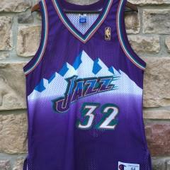 1997 Utah Jazz Karl Malone authentic champion gold logo nba jersey