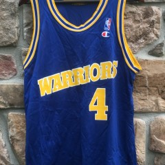 vintage 90s golden state warriors chris webber champion nba jersey size 44 large