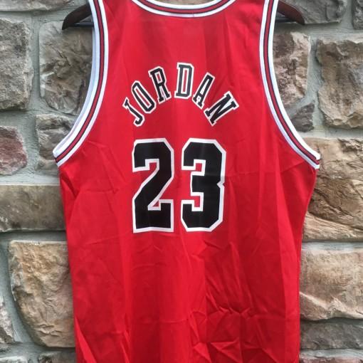vintage michael jordan chicago bulls champion nba jersey red 44 large