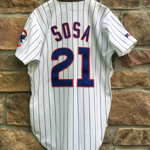 vintage sammy sosa authentic chicago cubs russell mlb jersey