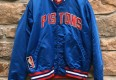 vintage 80's Detroit Pistons starter satin bomber jacket size large