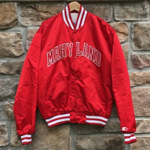 vintage 80's university of Maryland terrapins starter satin bomber jacket size XL