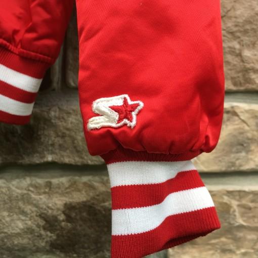 vintage red starter satin bomber jacket