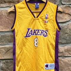 vintage #8 kobe bryant los angeles lakers champion nba jersey youth medium