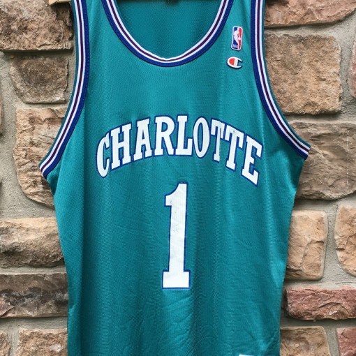 vintage 90's Muggsy bogues charlotte hornets nba jesey size 48 extra large