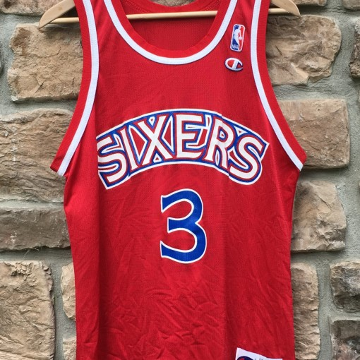 vintage allen iverson red rookie champion nba jersey size 40 medium