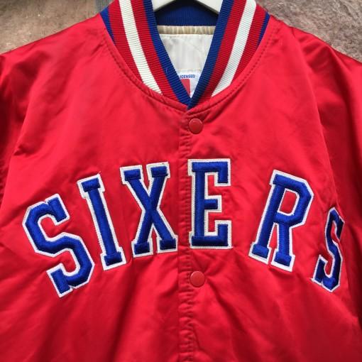 vintage 80's Philadelphia Sixers Starter satin bomber jacket size large